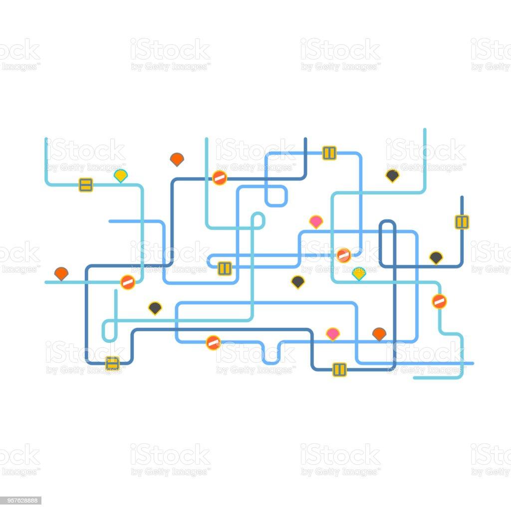 路線図道路地図の都市ベクトル図 つながりのベクターアート素材や画像