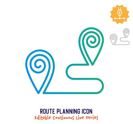 Route Planning Continuous Line Editable Stroke Line