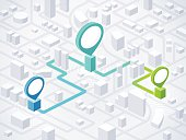Route planning, navigation and direction locations in an isometric generic city with location markers. EPS 10 file. Transparency effects used on highlight elements.