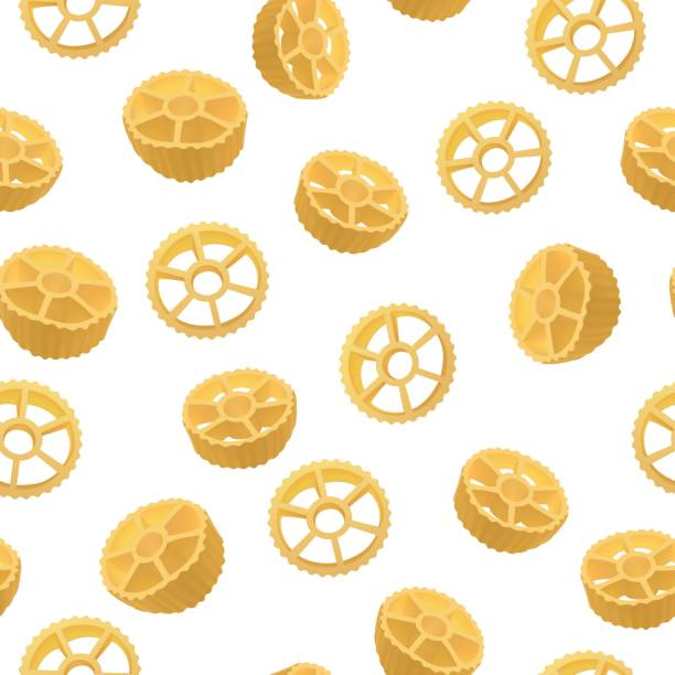 Route seamless pattern, realistic style Route seamless pattern, realistic style. Vector illustration of an Italian pasta variety of rotelli. Delicious food, gourmet, cooking, exquisite concept rotelle stock illustrations