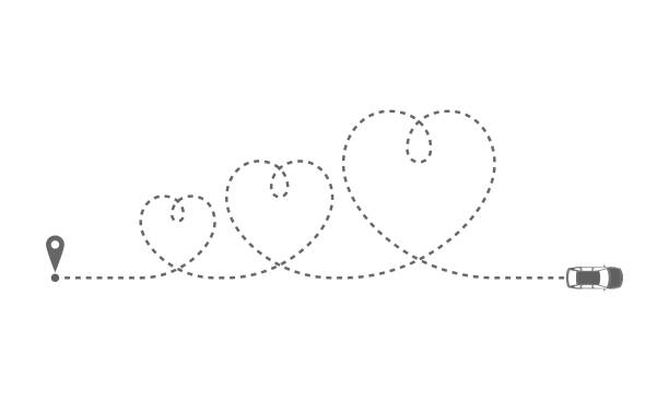 Route sign Route of the car as dotted line in the form some hearts. Car moving on its route on white background. Travel concept. Vector illustration car love stock illustrations