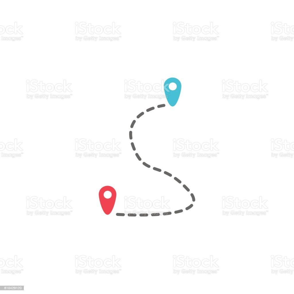 Ruta sólida icono, señal de ubicación del puntero de mapa ilustración de ruta sólida icono señal de ubicación del puntero de mapa y más vectores libres de derechos de alfiler libre de derechos