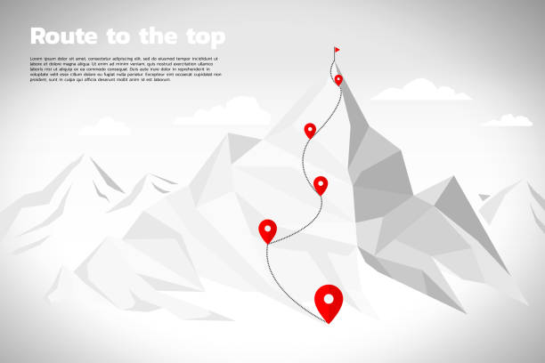 Route to the top of mountain: Concept of Goal, Mission, Vision, Career path, Polygon dot connect line style Key visual of path for climbing to top of mountain, represent career success mountain top stock illustrations