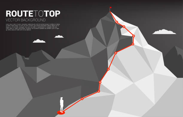 Route to the top of mountain: Concept of Goal, Mission, Vision, Career path, Vector concept Polygon dot connect line style mountain climbing stock illustrations