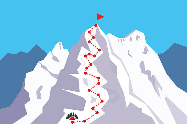 route to the top - rock climbing stock illustrations, clip art, cartoons, & icons