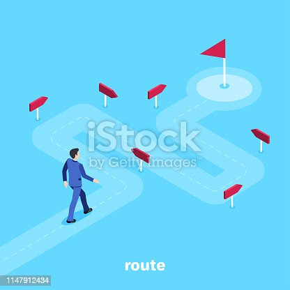 isometric vector image on a blue background, a man in a business suit goes along a winding road to his goal, the way in marketing