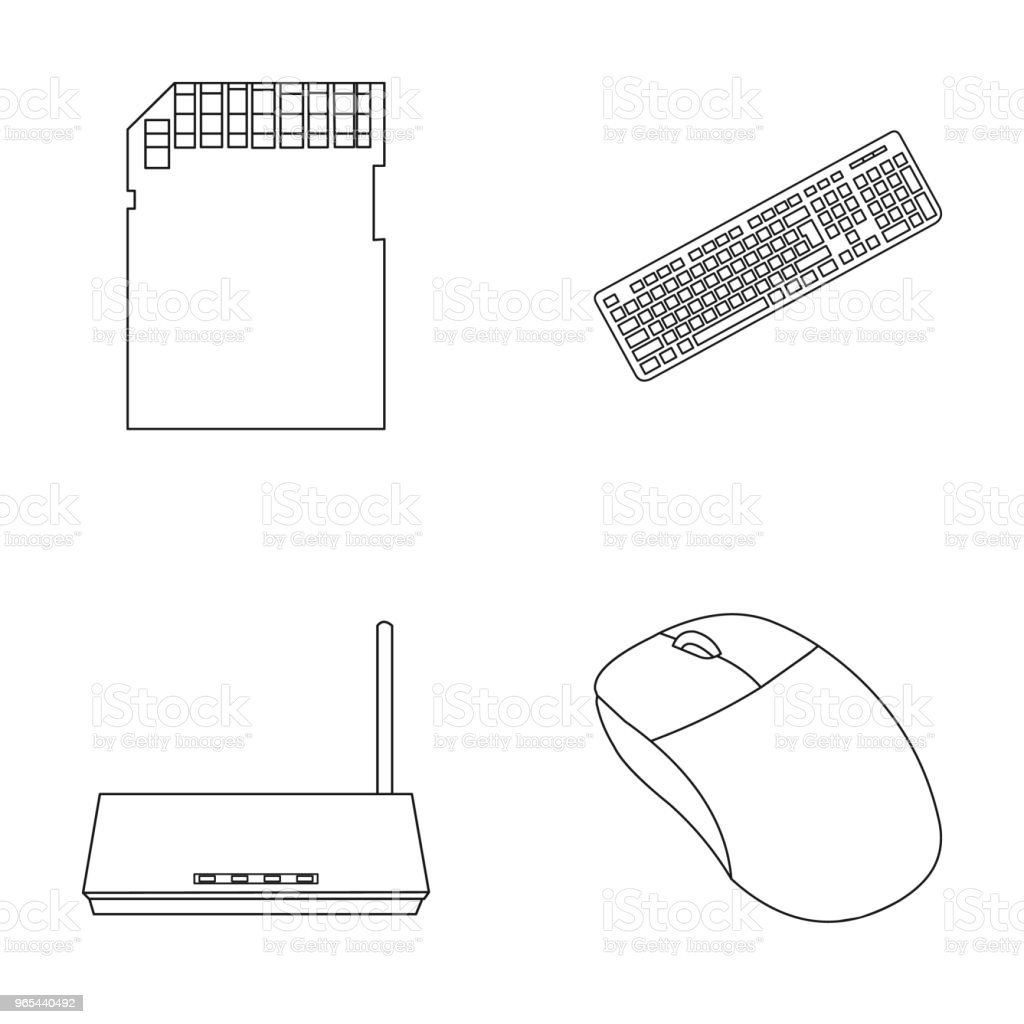 Router, computer mouse and other accessories. Personal computer set collection icons in outline style vector symbol stock illustration web. royalty-free router computer mouse and other accessories personal computer set collection icons in outline style vector symbol stock illustration web stock vector art & more images of compact disc