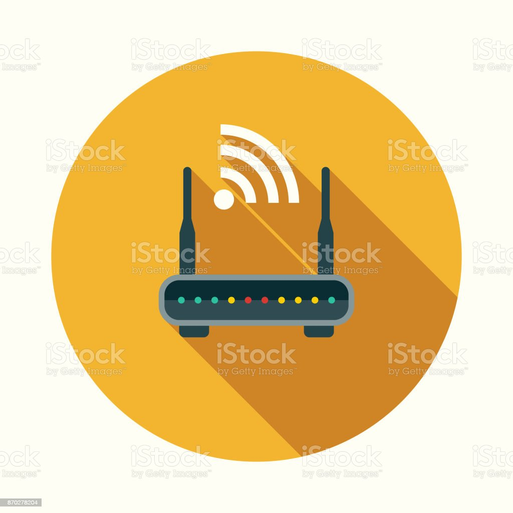 Router Flat Design Communications Icon with Side Shadow vector art illustration