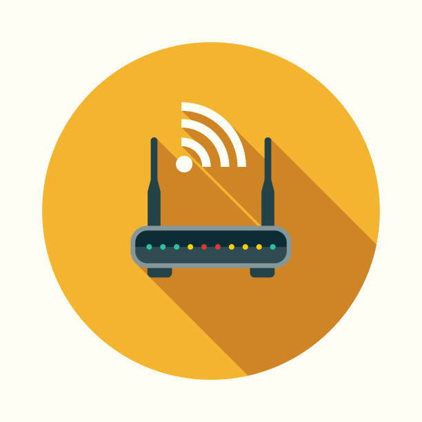 router flat design communications icon with side shadow - wireless technology stock illustrations, clip art, cartoons, & icons