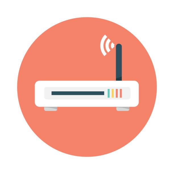 stockillustraties, clipart, cartoons en iconen met platte pictogram router. vector router. router en signaal symbool. wi-fi-router - router
