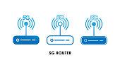 5G Router icon logo vector illustration. 5G internet connection vector template design. 5G network technology vector illustration for web, sign, symbol, logo, app, UI.