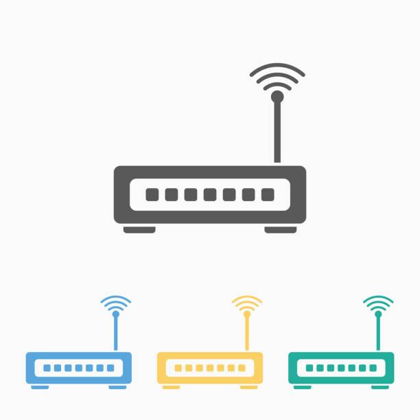 stockillustraties, clipart, cartoons en iconen met pictogram router - router