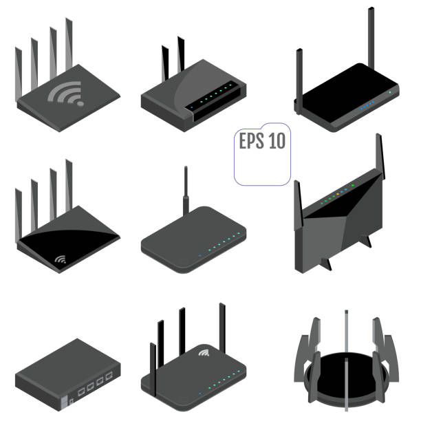 Router isometric icons set. vector art illustration