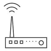 Router thin line icon. Wifi device with antenna symbol, outline style pictogram on white background. Network or technology sign for mobile concept and web design. Vector graphics