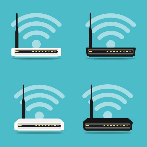 stockillustraties, clipart, cartoons en iconen met router draadloze hardware instellen vector - router