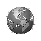 Aviation routes around the world as a symbol of global travel and business. Isolated planet Earth on white background with abstract airplane routes around it. Vector illustration