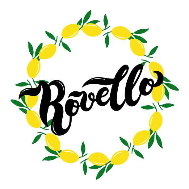 illustrazioni stock, clip art, cartoni animati e icone di tendenza di rovello. the name of italian town on the amalfi coast - amalfi