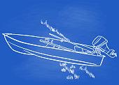 istock Row Boat Motor Boat Chalkboard Blue 1254946525
