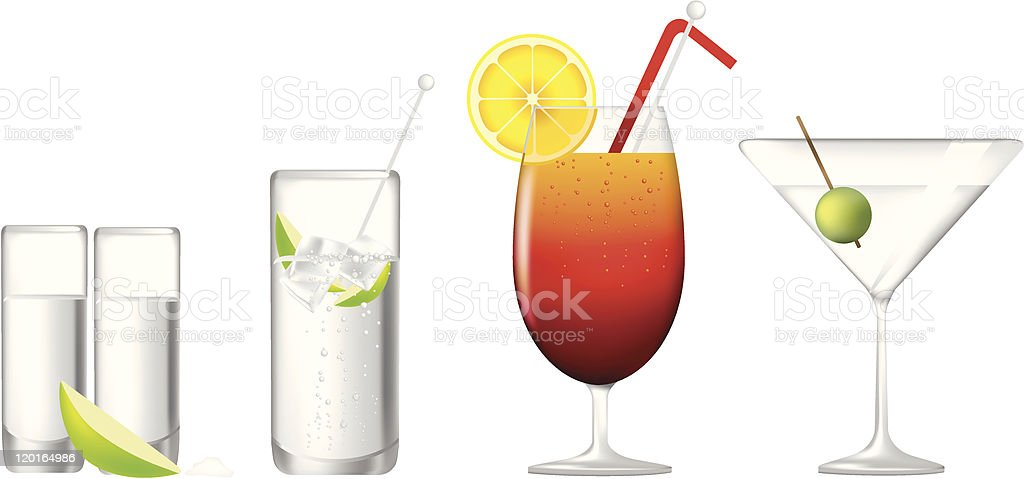row of alcoholic cocktails royalty-free stock vector art