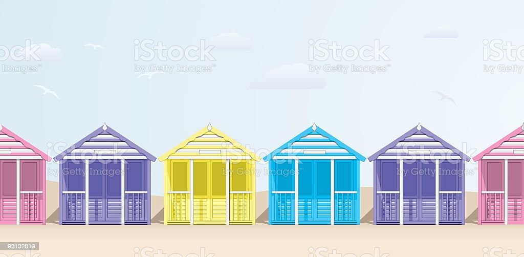 Row of Beach Huts in sherbet colours vector art illustration