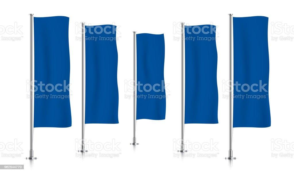 Linha de sinalizadores de banner vertical azul. - Vetor de Azul royalty-free