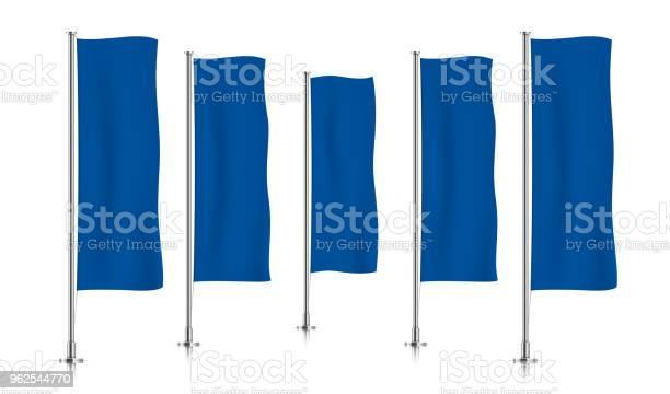 Vetores de Linha De Sinalizadores De Banner Vertical Azul e mais imagens de Azul