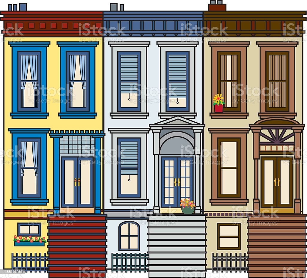 Row of Brownstone royalty-free stock vector art