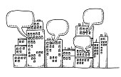 Row Of Buildings Communication Speech Bubbles Drawing