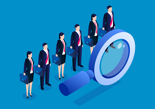 A row of businessmen standing behind a magnifying glass, concept of recruitment and candidates