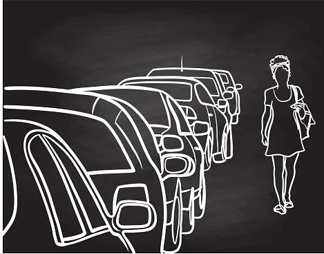 Row Of Cars Street Parking Chalkboard