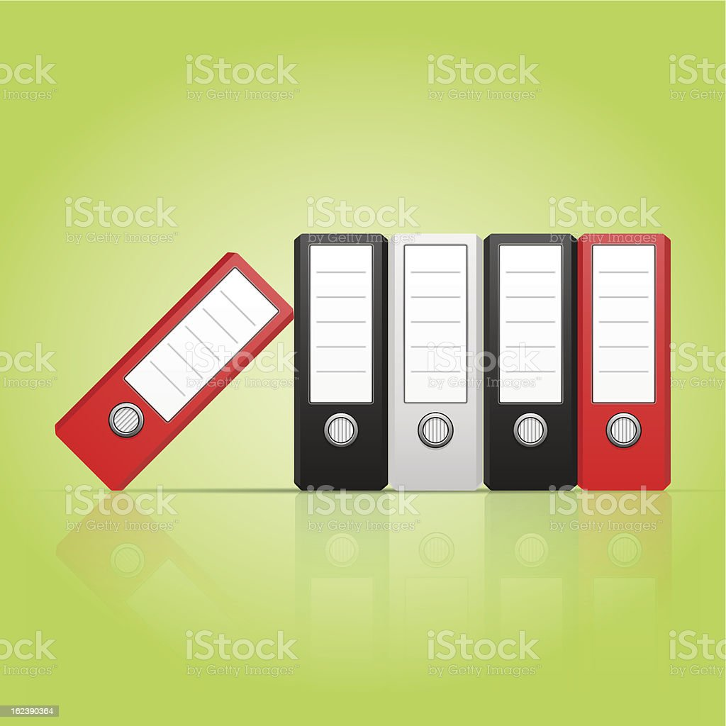 Row of color binders vector, red, gray, black. royalty-free row of color binders vector red gray black stock vector art & more images of archives
