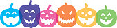 Vecot illustration of a row of colorful transparent overlapping pumpkins.