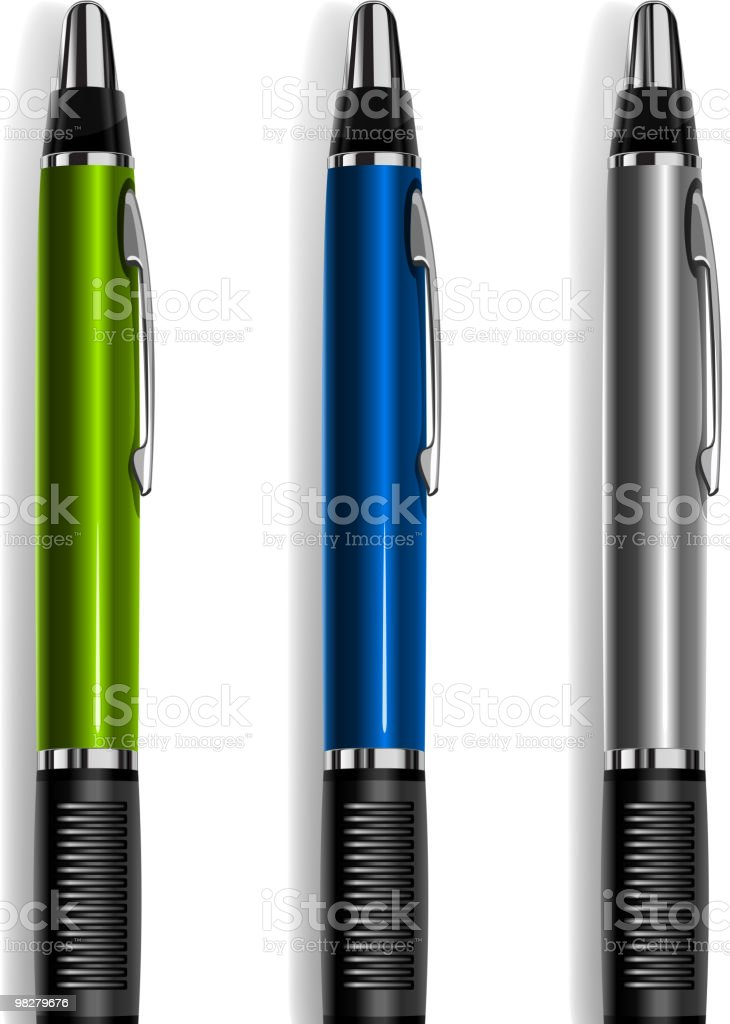 A row of different colored Pens vector art illustration