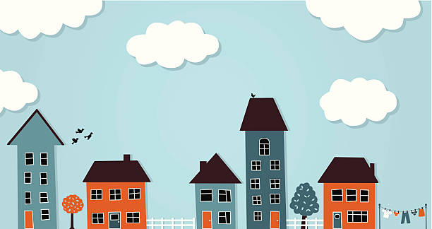 Row of different houses with clouds in sky vector art illustration