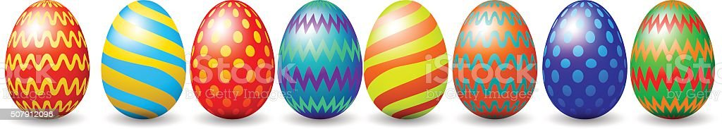 Row of easter eggs vector art illustration