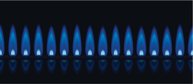 A row of gas flames showing the blue hue