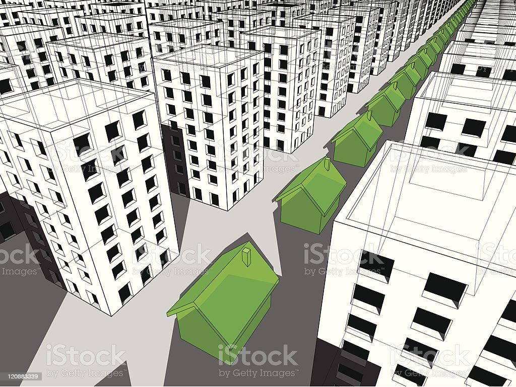 Row of green houses vector art illustration