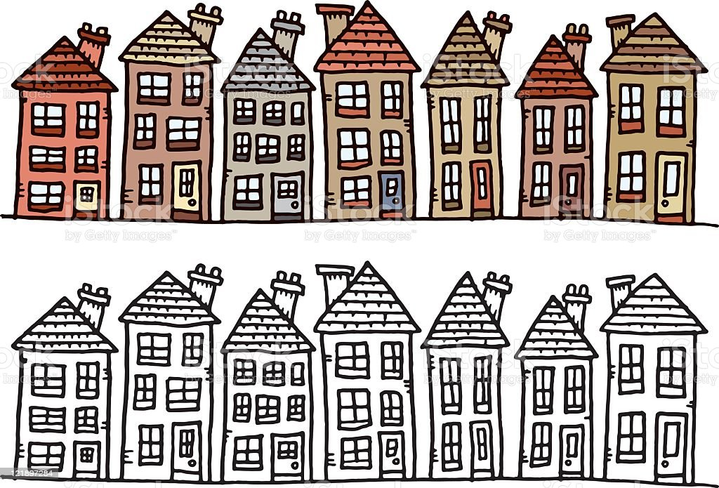 Row Of Houses Stock Vector Art & More Images of Building ...