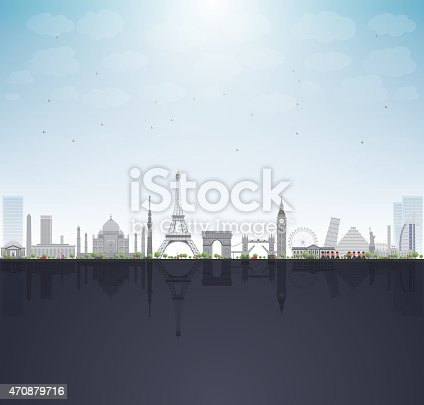 famous monuments and landmarks around the world. Vector illustration with copy space