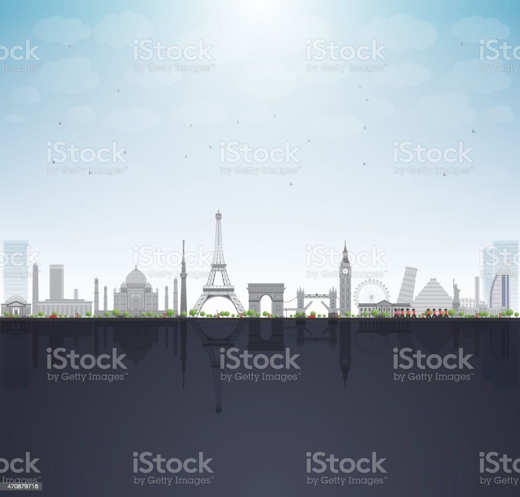 Row of illustrated famous monuments from around the world vector art illustration