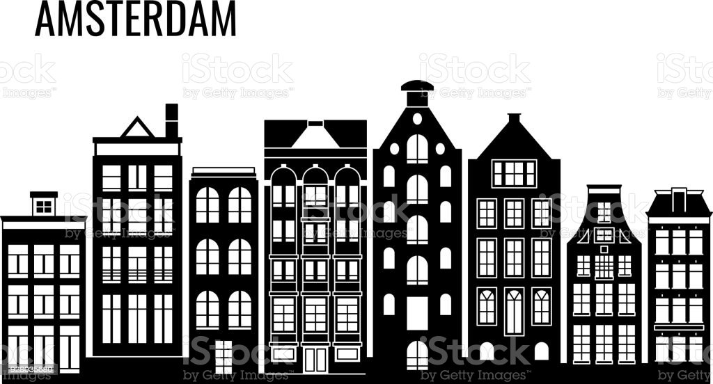 Row of old typical amsterdam houses vector silhouettes vector art illustration