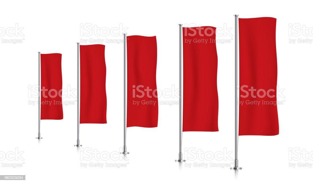 Linha de sinalizadores de faixa vertical vermelha. - Vetor de Aço royalty-free