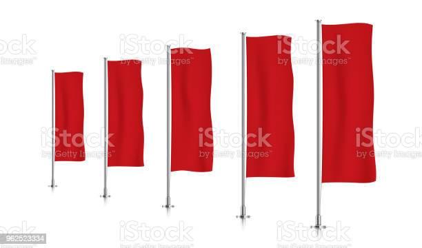 Vetores de Linha De Sinalizadores De Faixa Vertical Vermelha e mais imagens de Aço