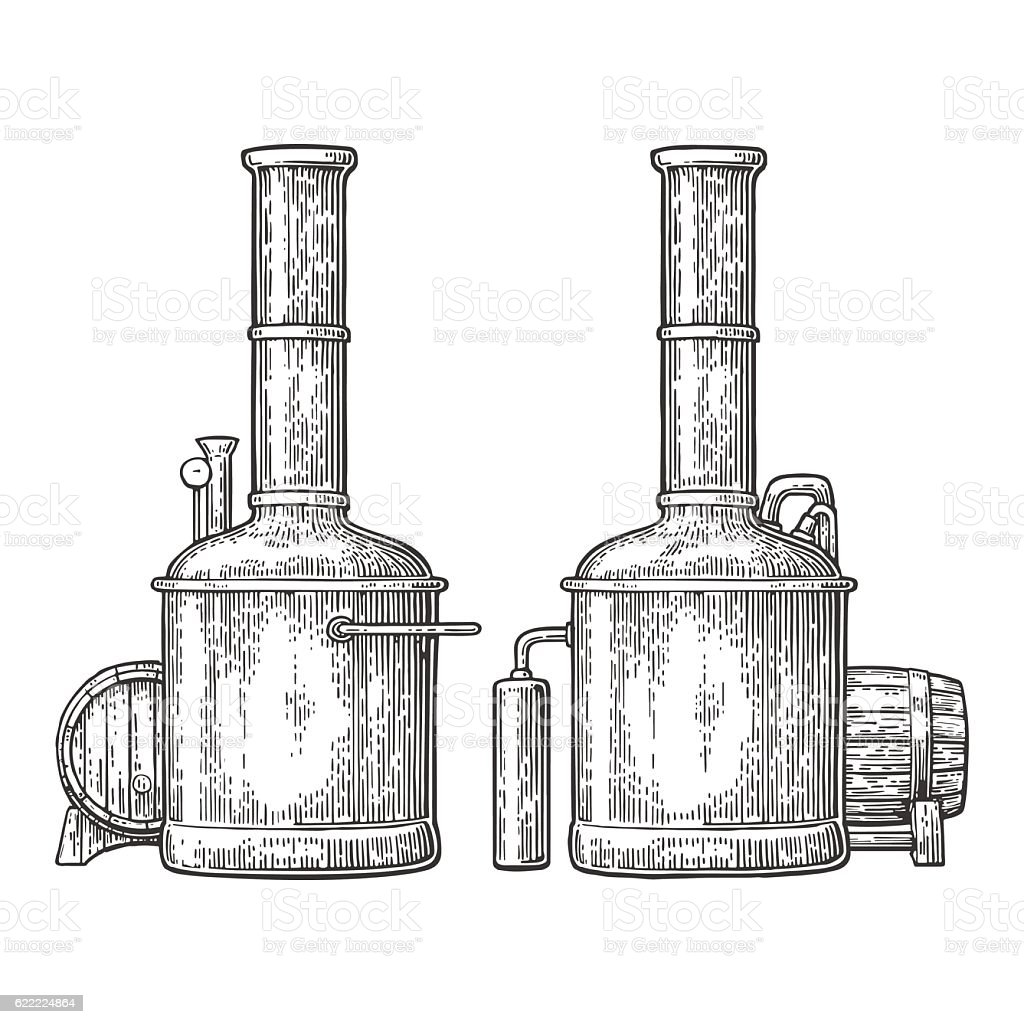 Row of tanks and wooden barrel in brewery beer. vector art illustration