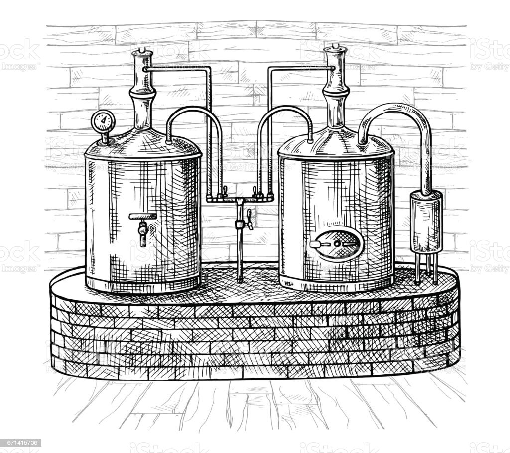 Row of tanks and wooden barrel in brewery beer vector art illustration