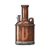 Brewery factory beer. Isolated on white background. Vintage color vector engraving illustration for web, poster, label, invitation to oktoberfest festival and party.