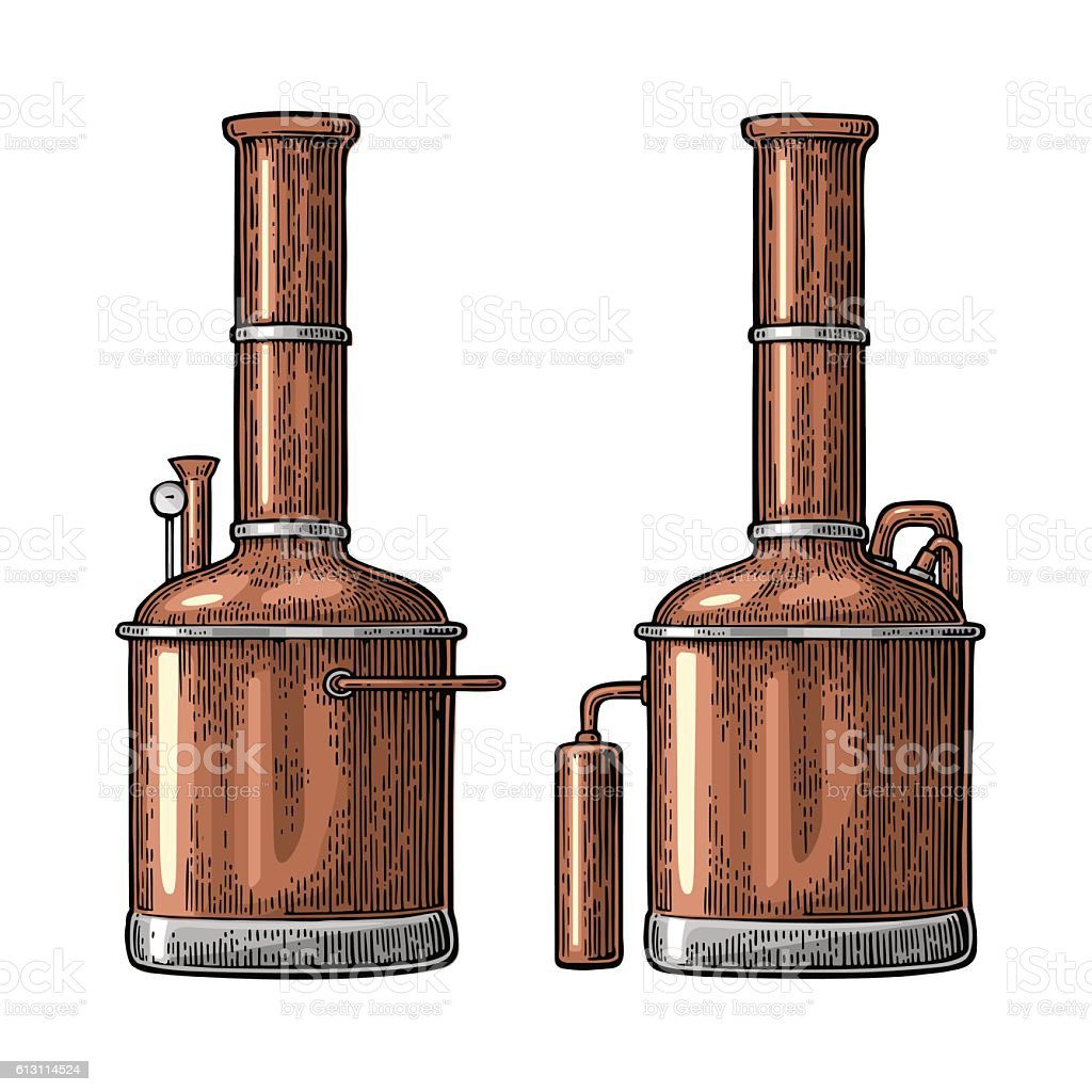 Row of tanks in brewery factory beer. vector art illustration