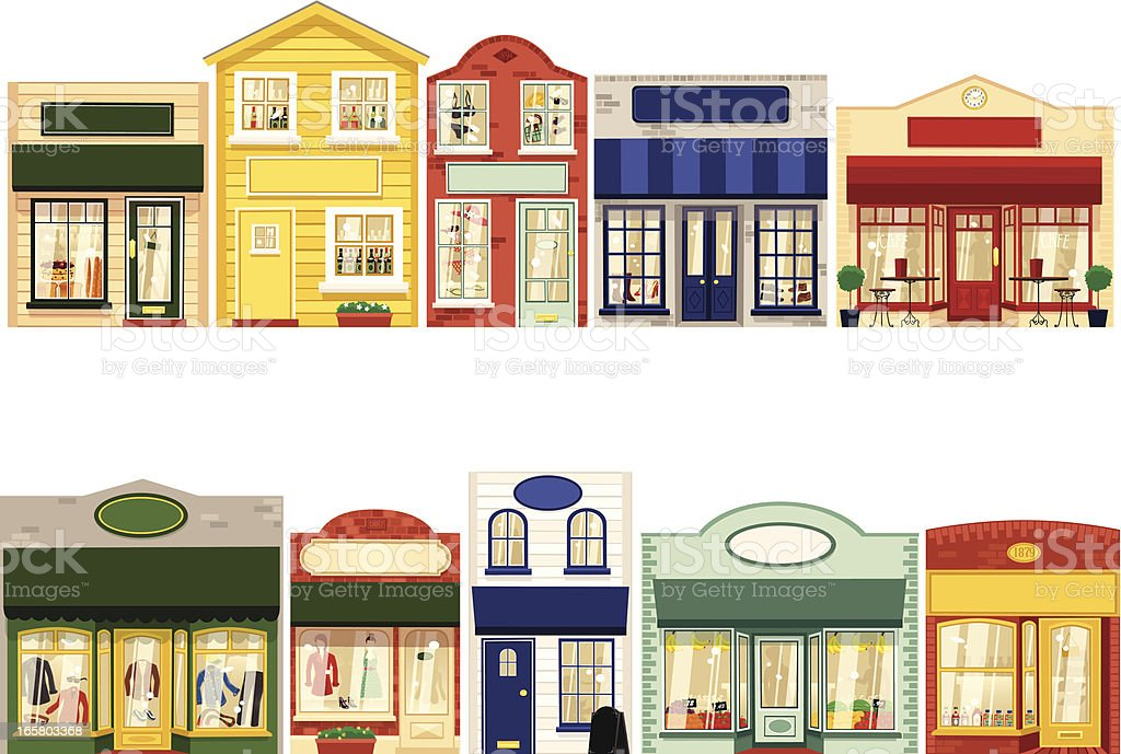 Row of ten small boutique shops vector art illustration