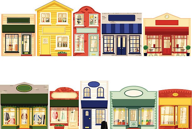Row of ten small boutique shops Ten isolated and individual 'boutique' type shops. Shops included are; cafe, shoe shops, clothing shops, restaurant, grocers, bakers and pharmacy. All have blank signage for your own messages. Shops can be tiled together easily in any order for your own Main Street! americana stock illustrations