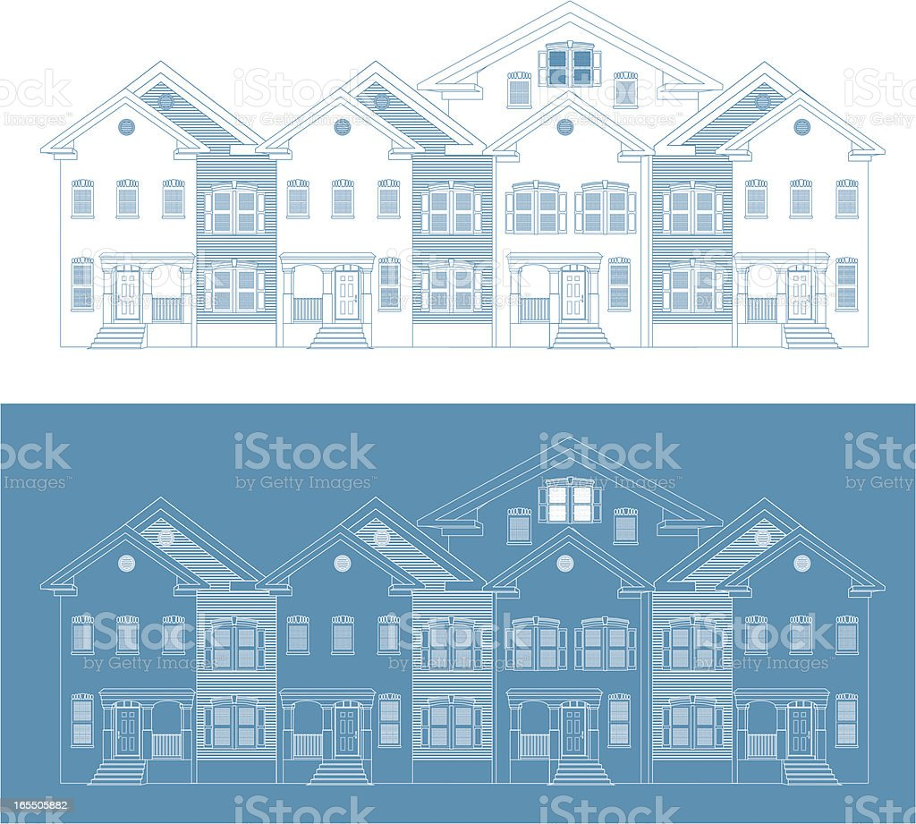 Row of Townhouses. Blueprint Version vector art illustration